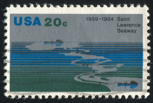 UNITED STATES - CIRCA 1984: stamp printed by United States of America, shows Aerial view of Seaway, freighters, circa 1984