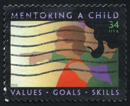 UNITED STATES - CIRCA 2002: stamp printed by United States, shows Child and Father, circa 2002