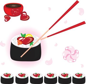 Japanese rolls with sauce and chopsticks. Illustration on white background for design