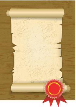 Old manuscript on wooden floor with award rosette. Vector illustration