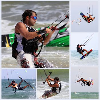 Collage from 6 photos kiteboarder enjoy surfing in water. Vietnam