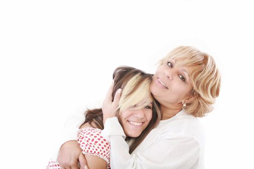 beautiful real couple mother in her 50s and teenage daughter