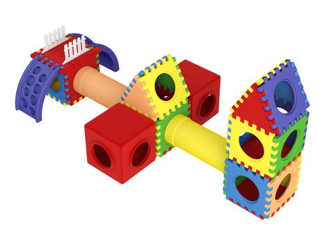 Colorful toy blocks isolated on white background