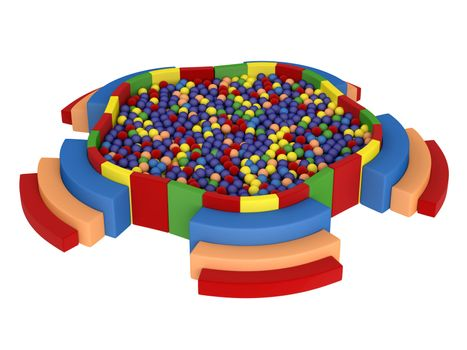 Colorful playground with plastic balls isolated on white background