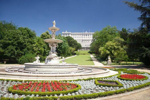Madrid fountain palace at Campo del Moro