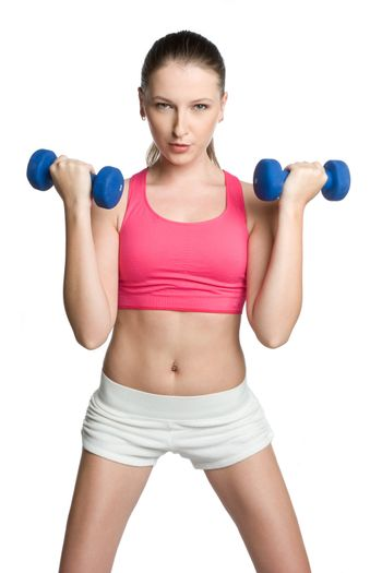 Isolated fitness woman lifting weights