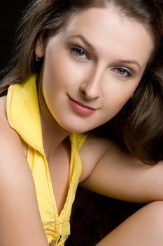 Beautiful smiling woman portrait closeup
