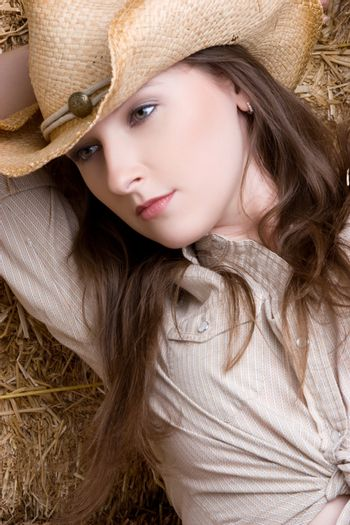 Country girl wearing cowboy hat