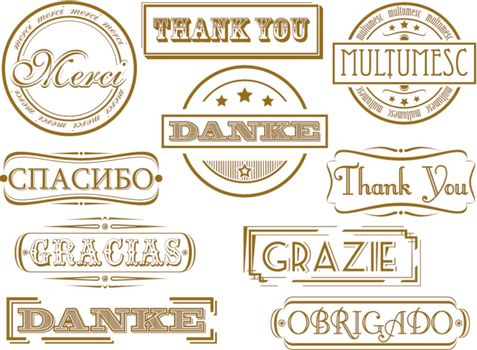 Thank you in different languages. Vector retro stamps
