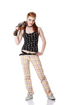 Teen punk girl holding fiddle.