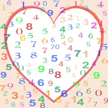 background made from colorful numbers with love red heart