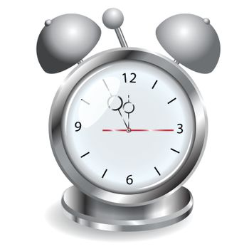 illustration, metallic alarm clock with voiced on white background