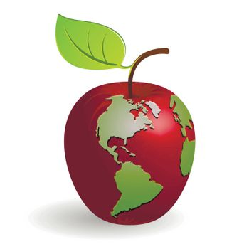 abstract illustration globe in the manner of red apple