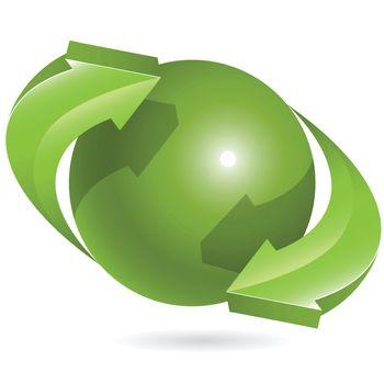 Abstract illustration green round arrow around globe