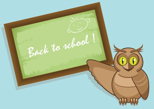 illustration, school board with inscription and owl