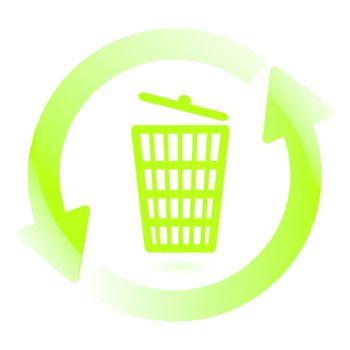 illustration, green arrows around wastebasket on white background