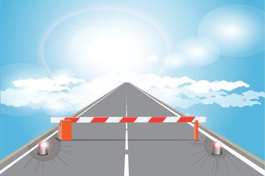 illustration, barrier on road on cloud skyward