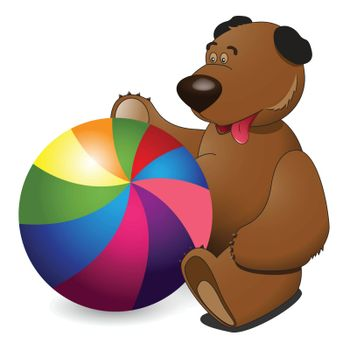 illustration, plush bear and ball on white background