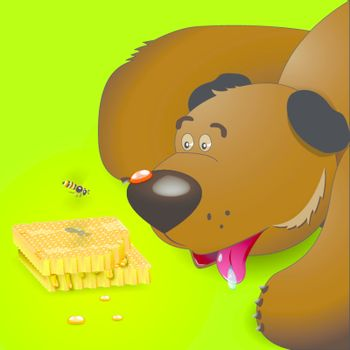illustration, brown bear looks at honey and bee