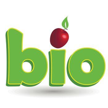 Illustration, green inscription bio with red apple