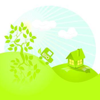 illustration, landscape tree, house, and bio car