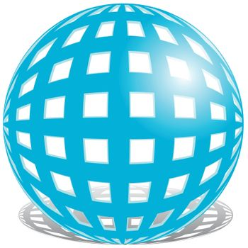 illustration, abstract form blue ball on white background