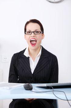 Screaming businesswoman.