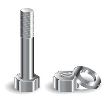 illustration, bolt, nut and puck on white background