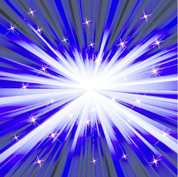Abstract blue texture with bright glare and ray