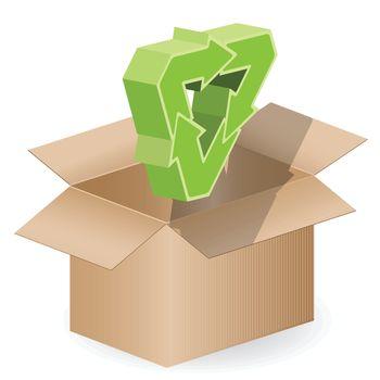 illustration, three green arrows on open box
