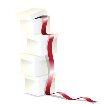 illustration, blanching box with lid and red tape