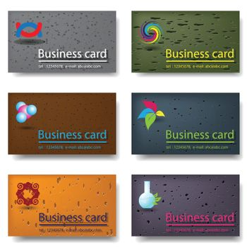illustration, six miscellaneouses business cards with logotype