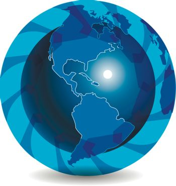 illustration abstract blue globe with blue arrow