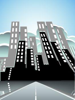 illustration, long road in city under blue sky
