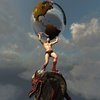 Atlas holds the Earth after he slays the dragon representing the peace and unity in this part of the world.