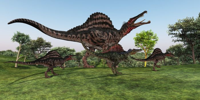 A Spinosaurus mother walks with her youngsters in prehistoric times.