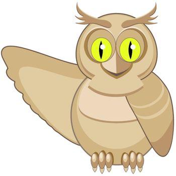 illustration, wild owl with green eye on white background