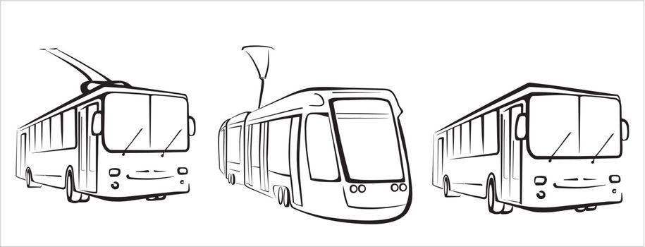 public transport set of symbols in simple black lines