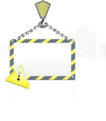 Crane hook with blank poster on the background buildings. Vector illustration