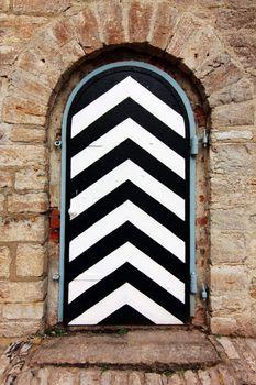 striped door