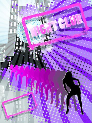illustration, abstract background with dancing woman in night club