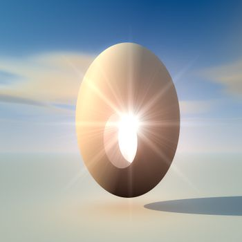 An abstract illustration of a bright light from inside an egg. Concept of a birth of a new bright idea.