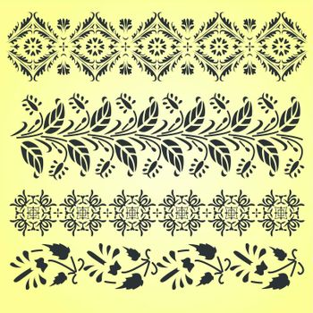 Vector Indian ornaments on yellow
