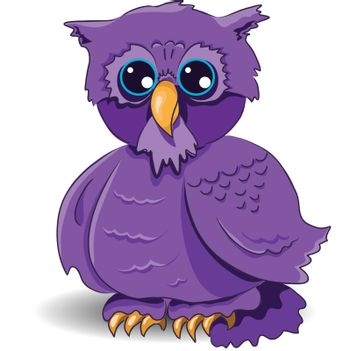 illustration, of a cartoon owl with surprised by glance