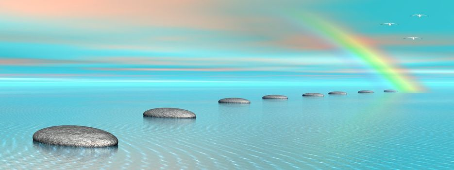 Grey stones steps upon the ocean going to a rainbow and birds flying next to it