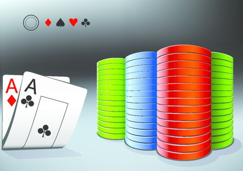 poker stack and two aces on the dark background