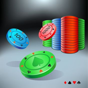 poker chips raise on the dark background