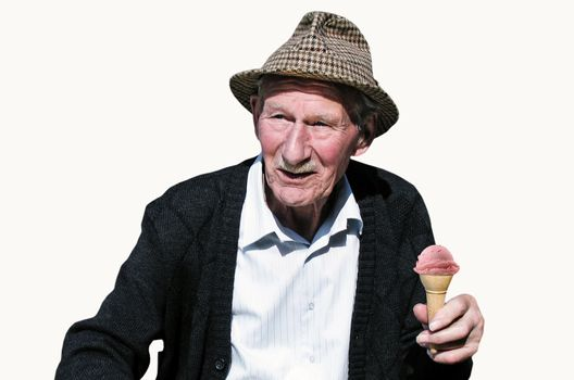 Elderly man wearing a hat with ice cream, looking happy