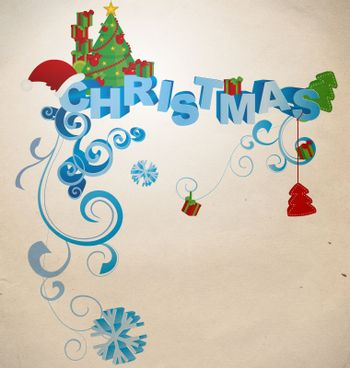 christmas 3D text in vintage style illustration