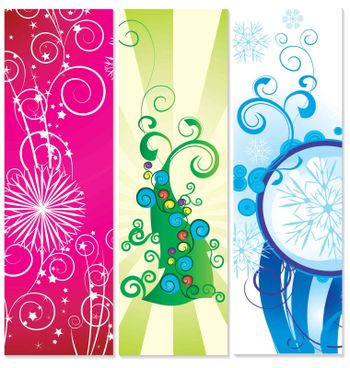 set of banners christmas tree with snowflakes illustration